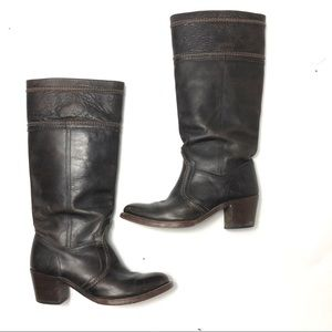 Frye 77231 Jane  Boot Brown leather heeled boot 8